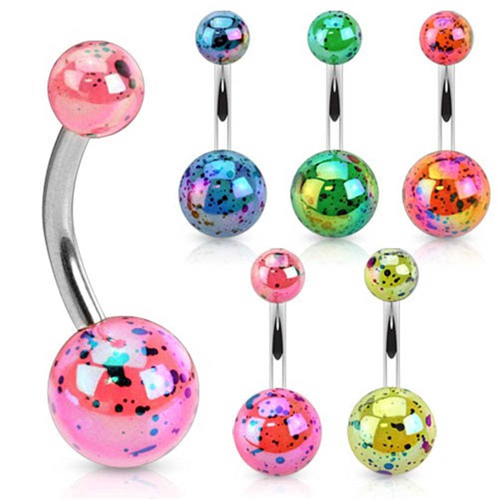 Šperky eshop Oceľový piercing do pupka, farebné guličky z akrylu s dúhovým odleskom - Farba piercing: Modrá