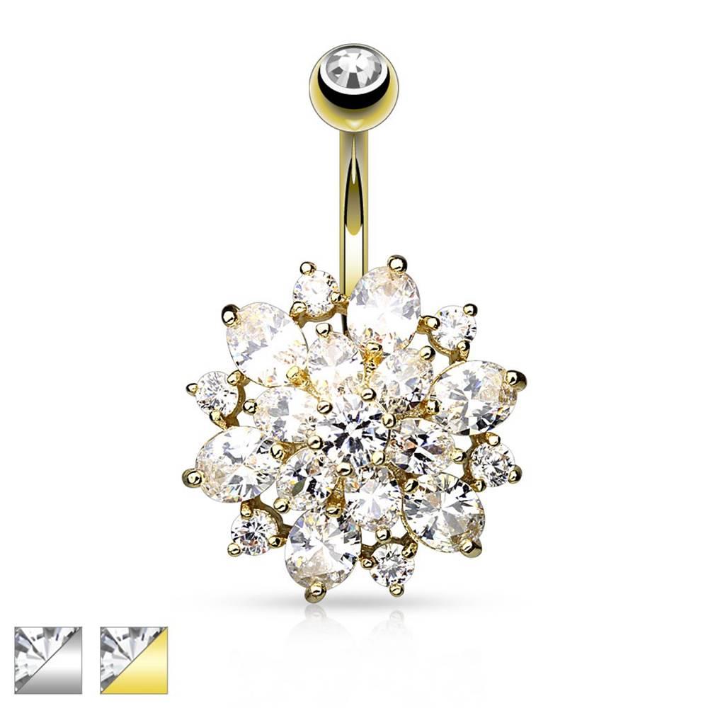 Šperky eshop Oceľový piercing do pupku, trblietavý kvietok z čírych zirkónov - Farba piercing: Strieborná