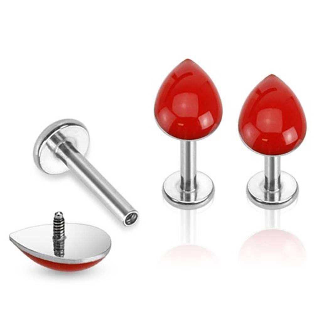 Šperky eshop Piercing do brady z ocele, strieborná farba, červená kvapka - Dĺžka piercingu: 6 mm