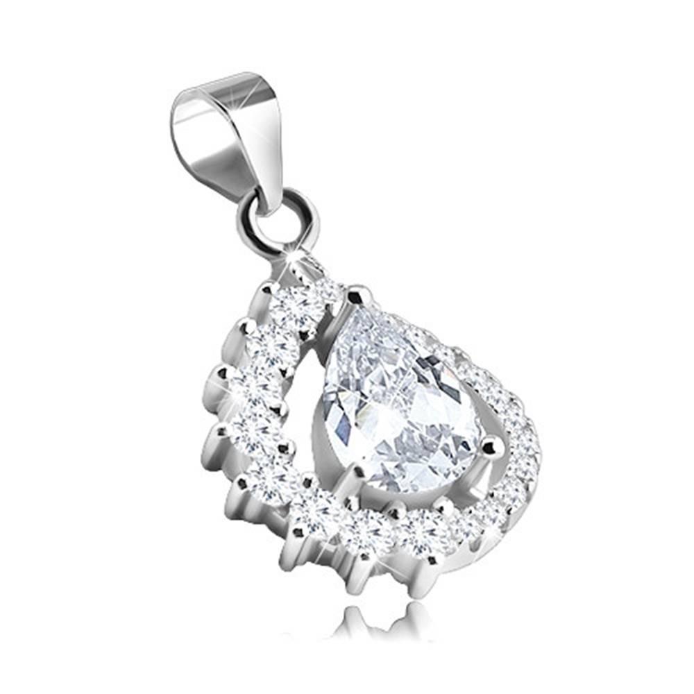 Šperky eshop Prívesok zo striebra 925, asymetrická kontúra kvapky, číry zirkón uprostred