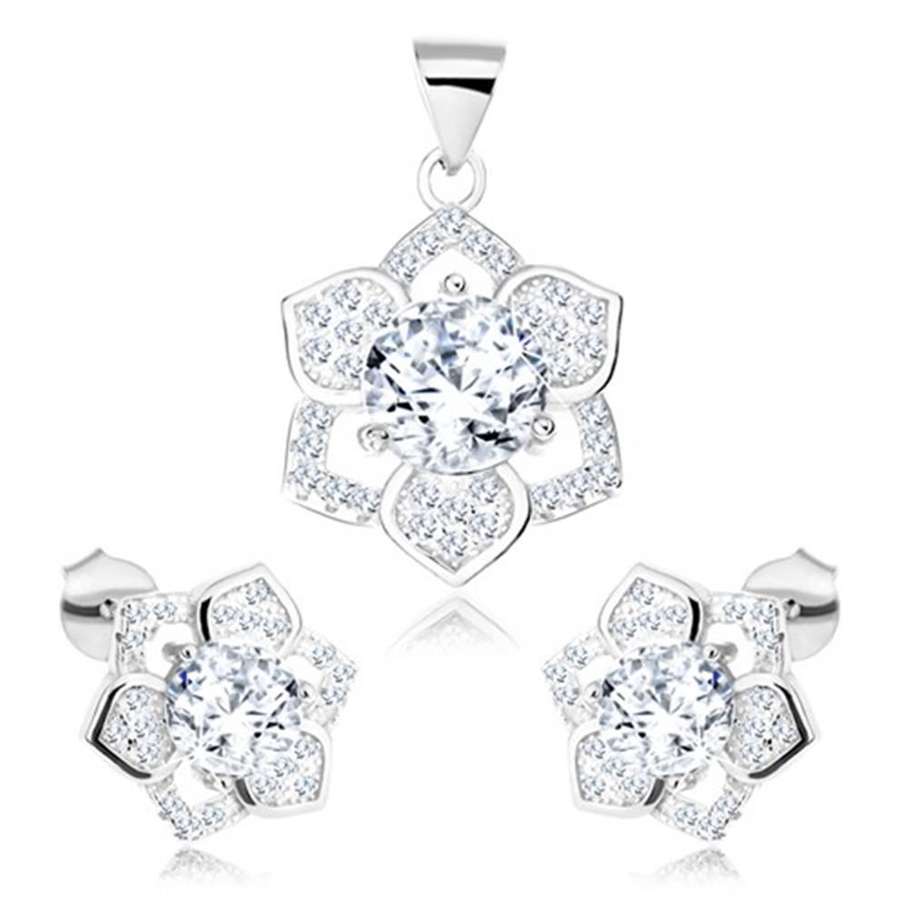 Šperky eshop Strieborný set 925, prívesok a náušnice, ligotavý kvietok, číry zirkón
