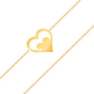 Náramok zo žltého 14K zlata - kontúra srdca so srdiečkom, tenká retiazka
