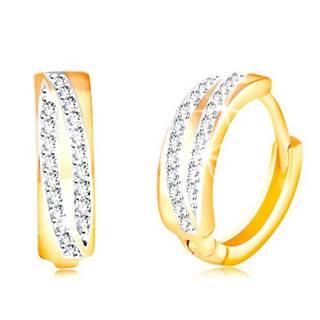 Okrúhle náušnice v 14K zlate - dva ligotavé oblúky z čírych zirkónov