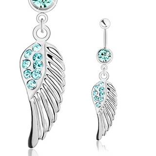 Piercing do pupka z ocele 316L, strieborná farba, anjelské krídlo, modré zirkóniky