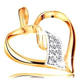 Prívesok v 14K zlate - lesklý obrys srdca, prepojené dvojfarebné vlnky v strede