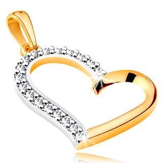 Prívesok zo 14K zlata - nepravidelný obrys srdca so zirkónovou polovicou