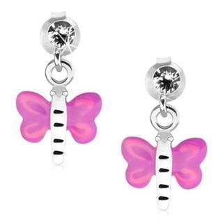 Strieborné náušnice 925, číry krištáľ, motýľ s fialovo-ružovými krídlami