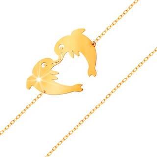 Zlatý náramok 585 - dva delfíny tvoriace kontúru srdiečka, jemná retiazka