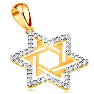 Zlatý prívesok 585 - Dávidova hviezda zdobená čírymi zirkónmi a výrezmi