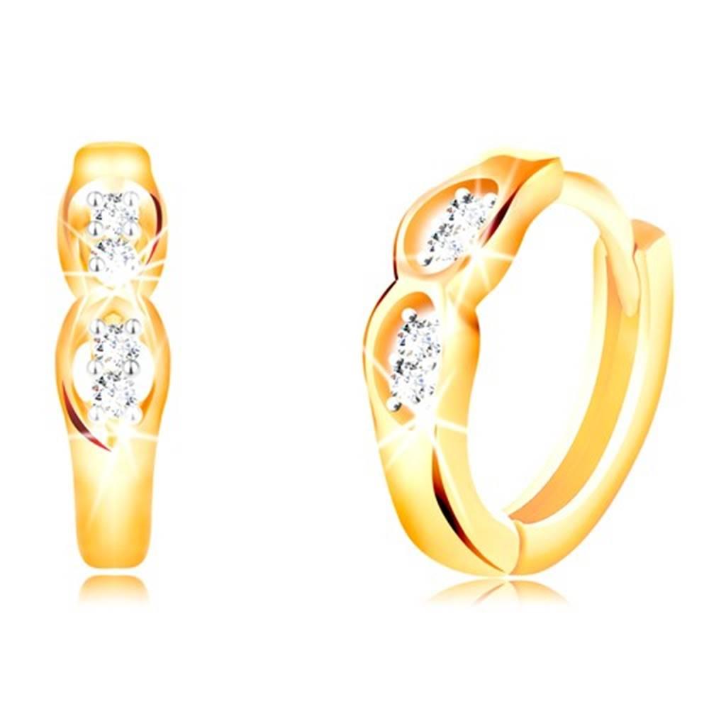 Šperky eshop Kĺbové náušnice zo 14K zlata - dva oválne výrezy s čírymi zirkónmi