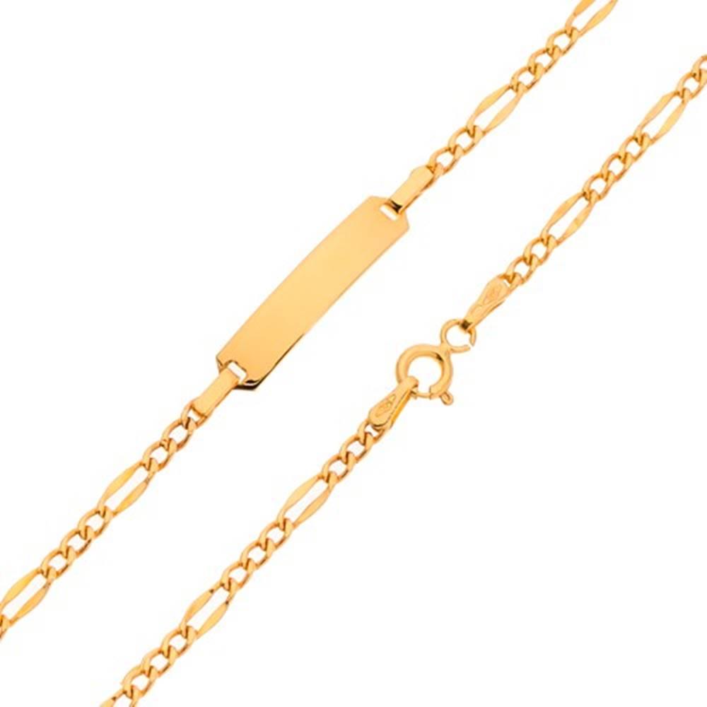 Šperky eshop Náramok s platničkou, zlato 585, Figaro vzor - tri menšie a jedno väčšie očko, 200 mm