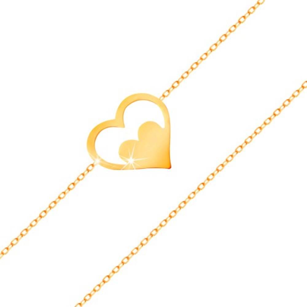 Šperky eshop Náramok zo žltého 14K zlata - kontúra srdca so srdiečkom, tenká retiazka