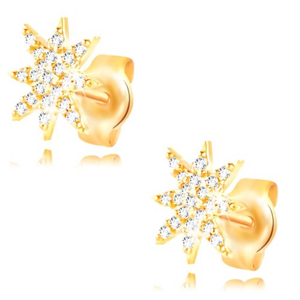 Šperky eshop Náušnice zo žltého 14K zlata - ligotavá hviezdička zdobená čírymi zirkónmi