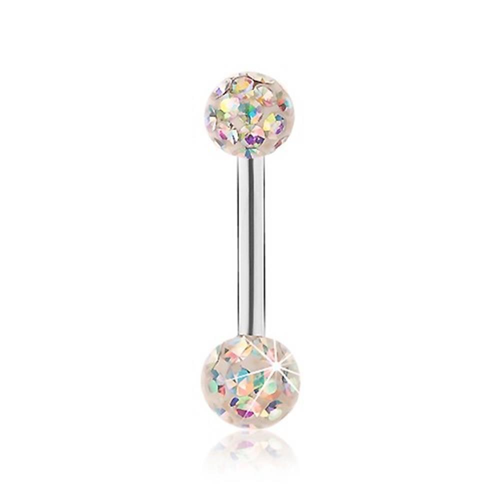 Šperky eshop Oceľový piercing do jazyka, biele guličky, zirkóny s dúhovým odleskom, glazúra