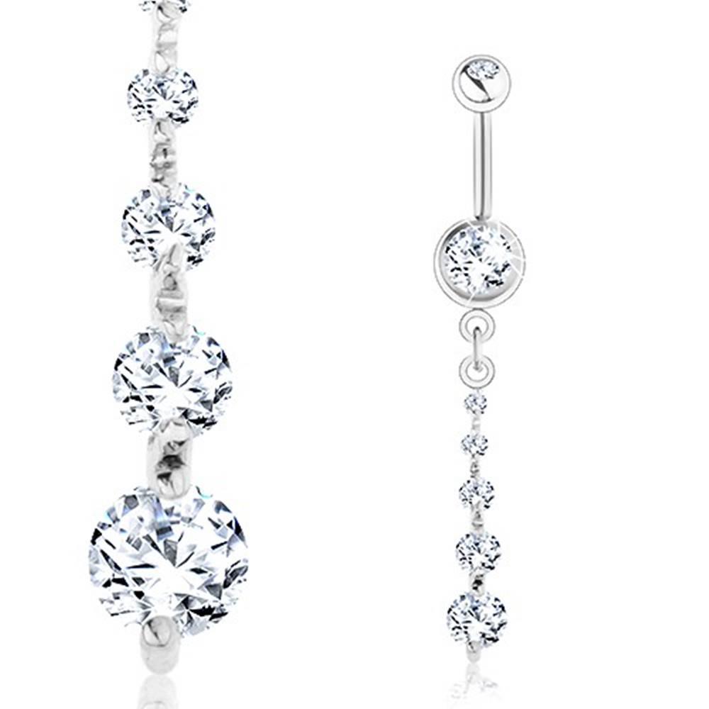 Šperky eshop Piercing do brucha, oceľ 316L, zvislá línia piatich čírych zirkónov
