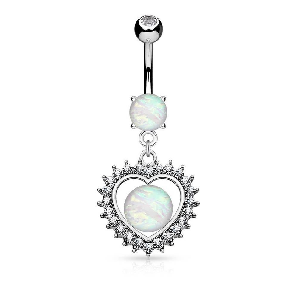 Šperky eshop Piercing do brucha z ocele 316L, srdce so syntetickým opálom a zirkónikmi