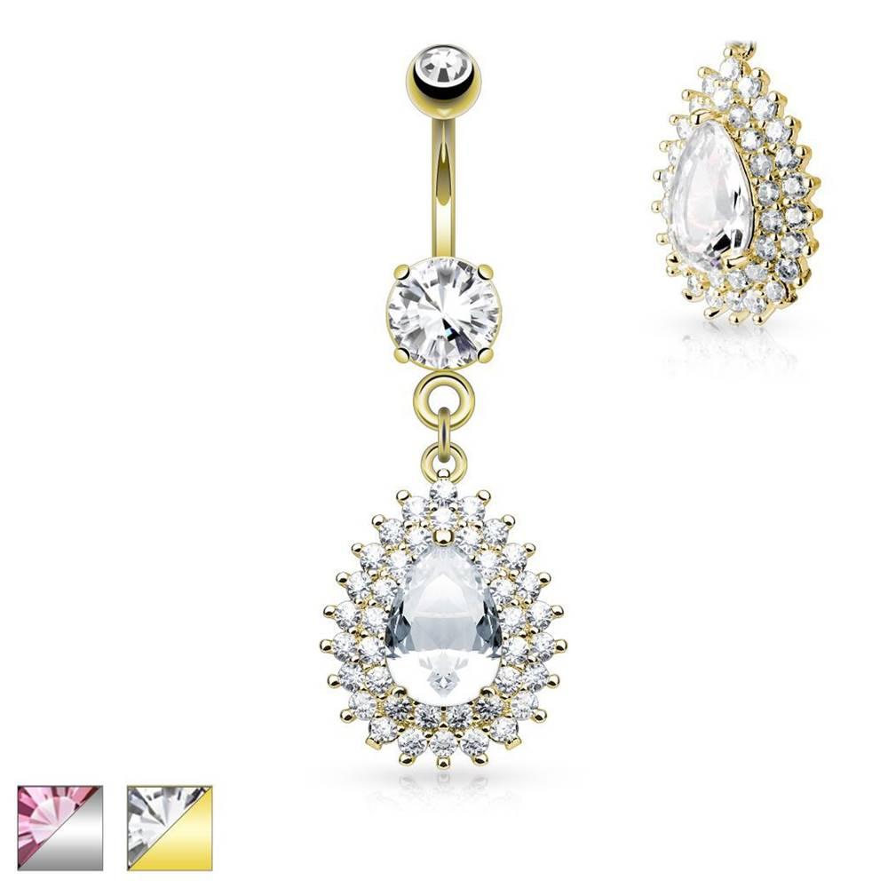 Šperky eshop Piercing do pupka z chirurgickej ocele, veľká slza, číry dvojitý lem - Farba piercing: Strieborná