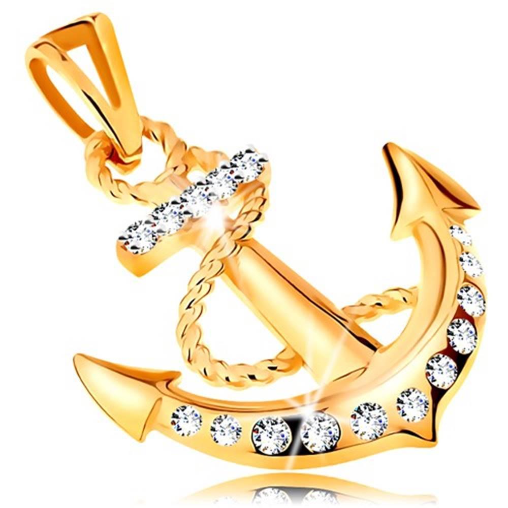Šperky eshop Prívesok v žltom 14K zlate - lodná kotva s obtočeným lanom a zirkónmi