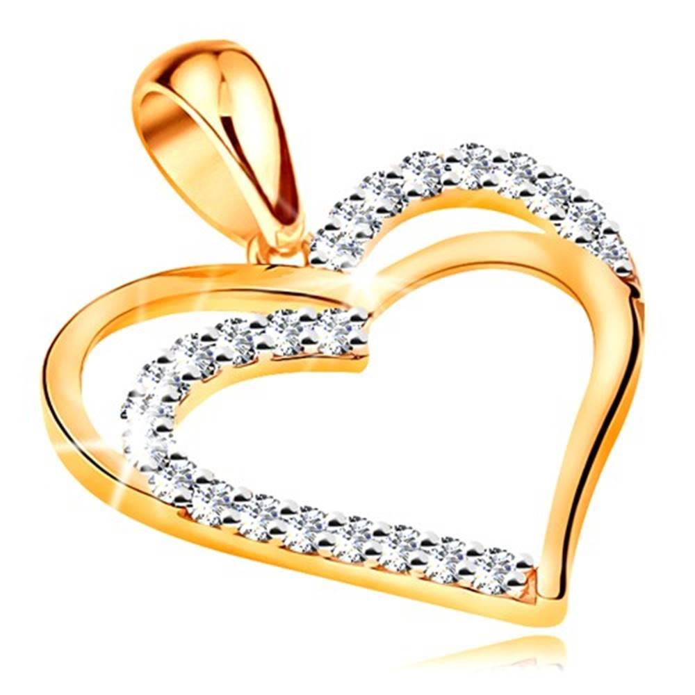 Šperky eshop Prívesok zo žltého 14K zlata - dvojitý obrys srdca, línie čírych zirkónov