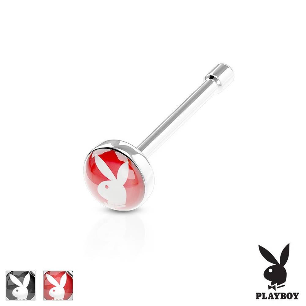 Šperky eshop Rovný piercing do nosa, oceľ 316L, farebné koliesko s Playboy zajačikom - Farba piercing: Červená