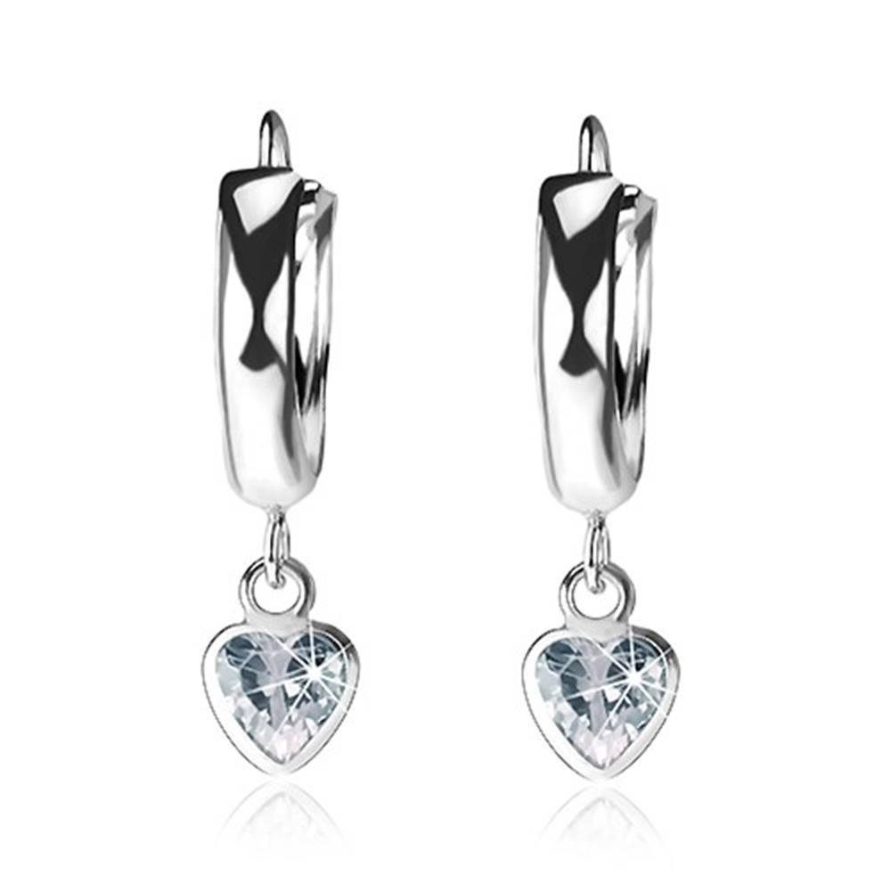Šperky eshop Strieborné náušnice 925, lesklý hladký krúžok, číry srdiečkový zirkón