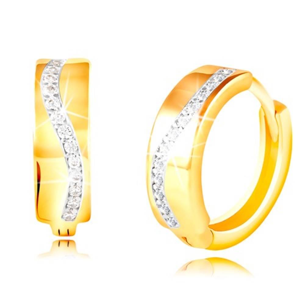 Šperky eshop Zlaté okrúhle náušnice 585 - trblietavá vlnka z čírych zirkónov