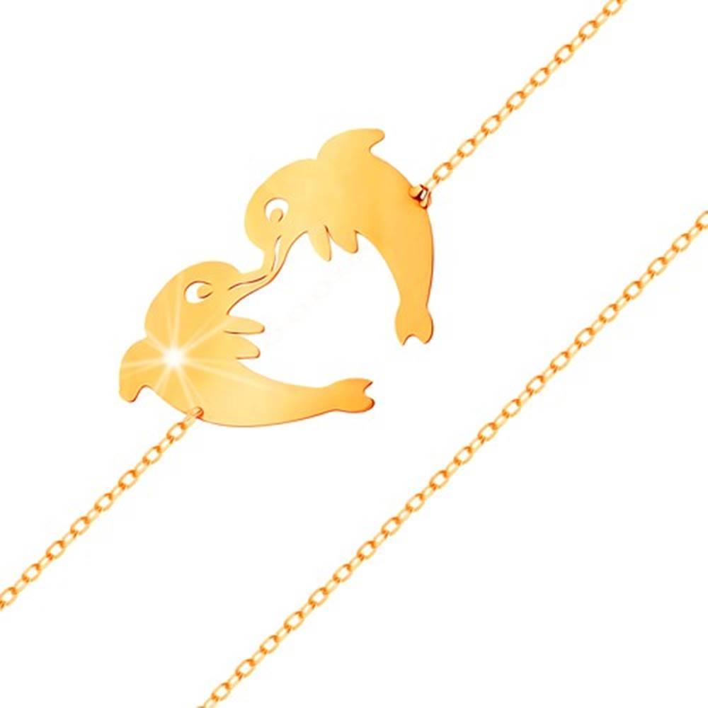 Šperky eshop Zlatý náramok 585 - dva delfíny tvoriace kontúru srdiečka, jemná retiazka