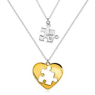 Dvojset zo striebra 925 - dva náhrdelníky, puzzle s nápisom, srdce s vyrezaným puzzle uprostred