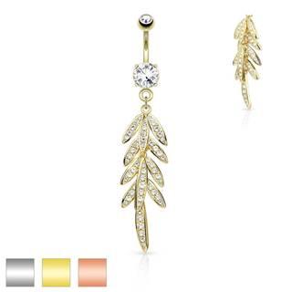 Piercing do bruška z ocele - visiace listy so zirkónikmi, trblietavý zirkón v kotlíku - Farba piercing: Medená