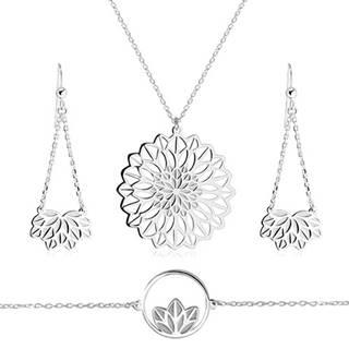 Strieborný trojset 925 - náhrdelník, náramok, náušnice, motív kvetu s vykrojenými lupeňmi