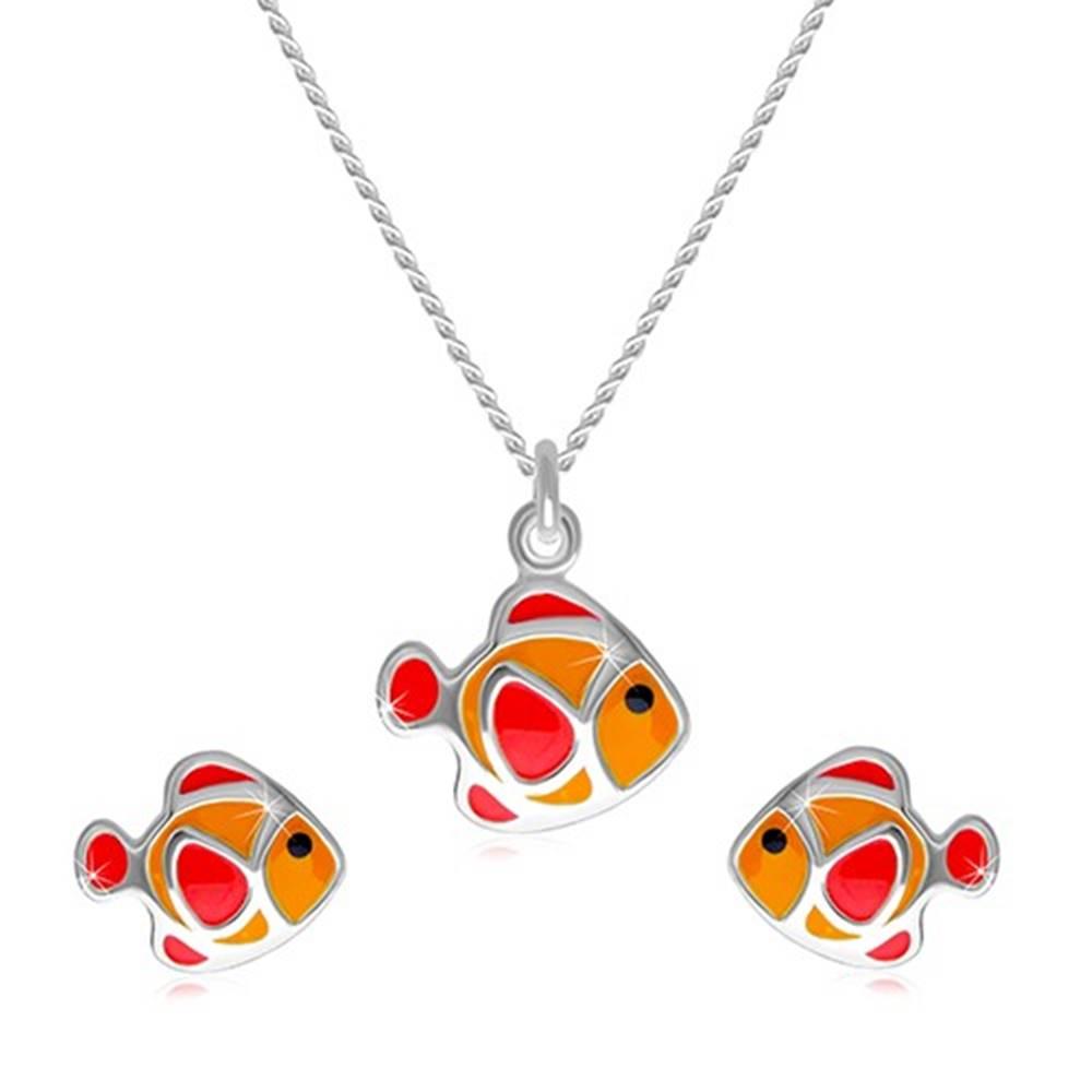 Šperky eshop Dvojdielna sada zo striebra 925 - náhrdelník a náušnice, červeno-oranžová rybička