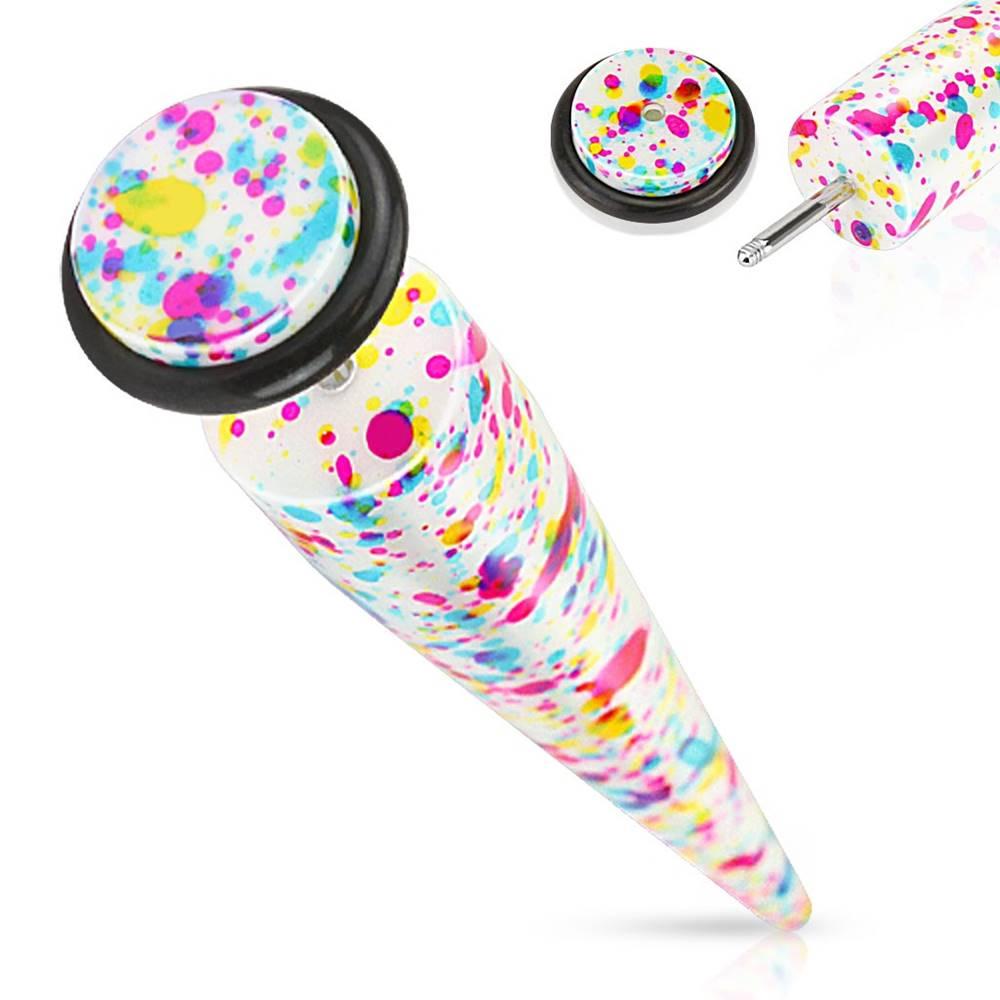 Šperky eshop Falošný akrylový taper - farebná striekaná potlač na bielom podklade, čierna gumička