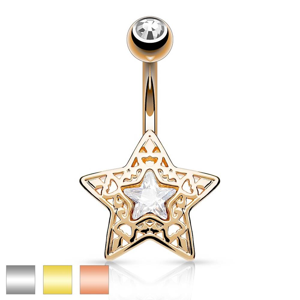 Šperky eshop Oceľový piercing do bruška - vyrezávaná hviezdička s ligotavým zirkónom uprostred - Farba piercing: Medená