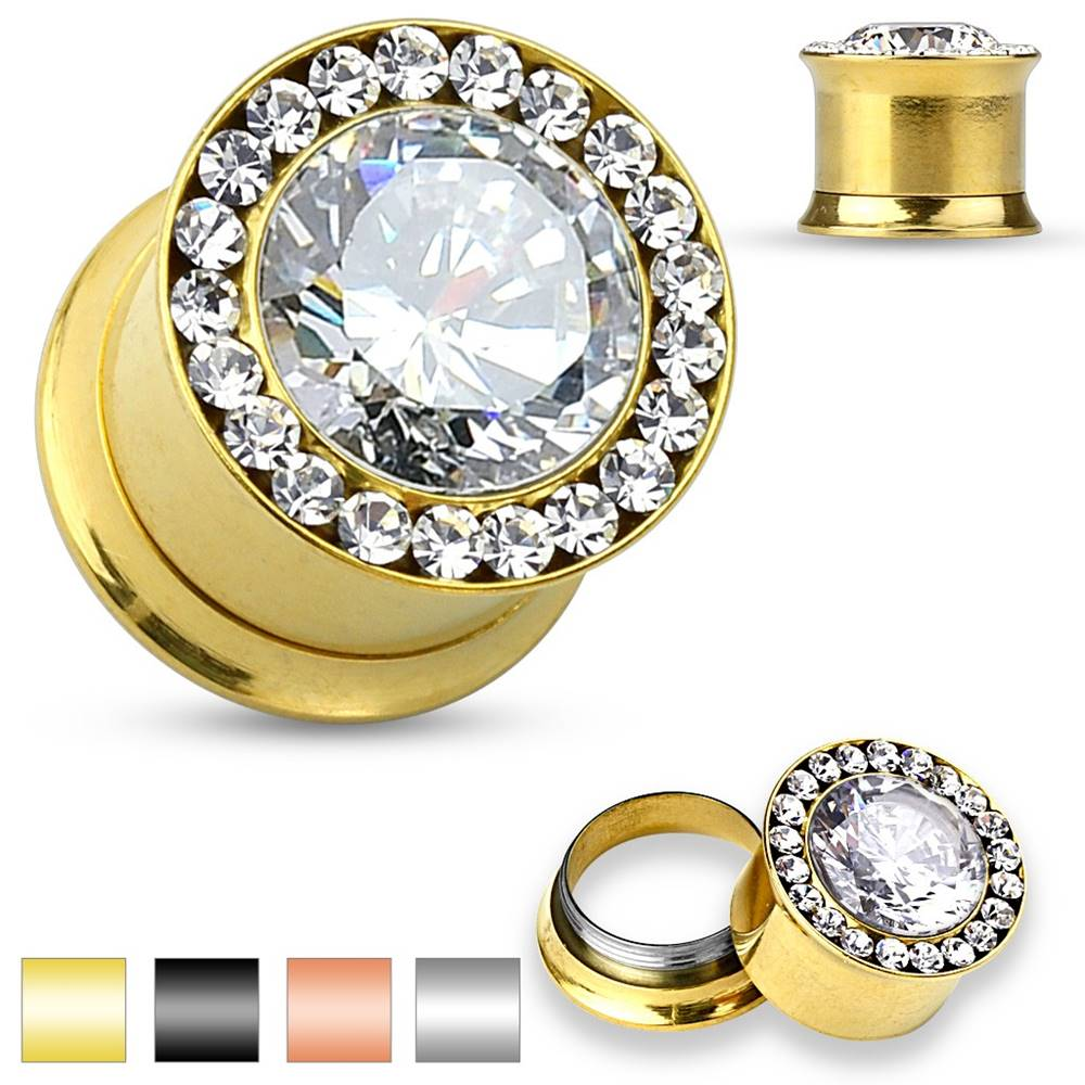 Šperky eshop Plug do ucha z ocele 316L - veľký číry zirkón, malé zirkóniky, 10 mm - Farba piercing: Čierna