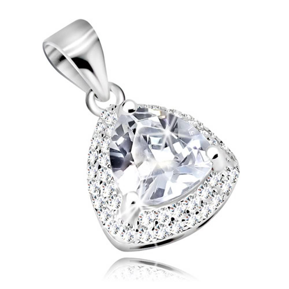 Šperky eshop Prívesok zo striebra 925, číry zirkónový trojuholník s trblietavým lemom