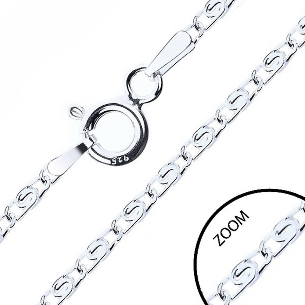 Šperky eshop Retiazka zo striebra 925, prekladané očká s esíčkom, šírka 2,1 mm, dĺžka 550 mm