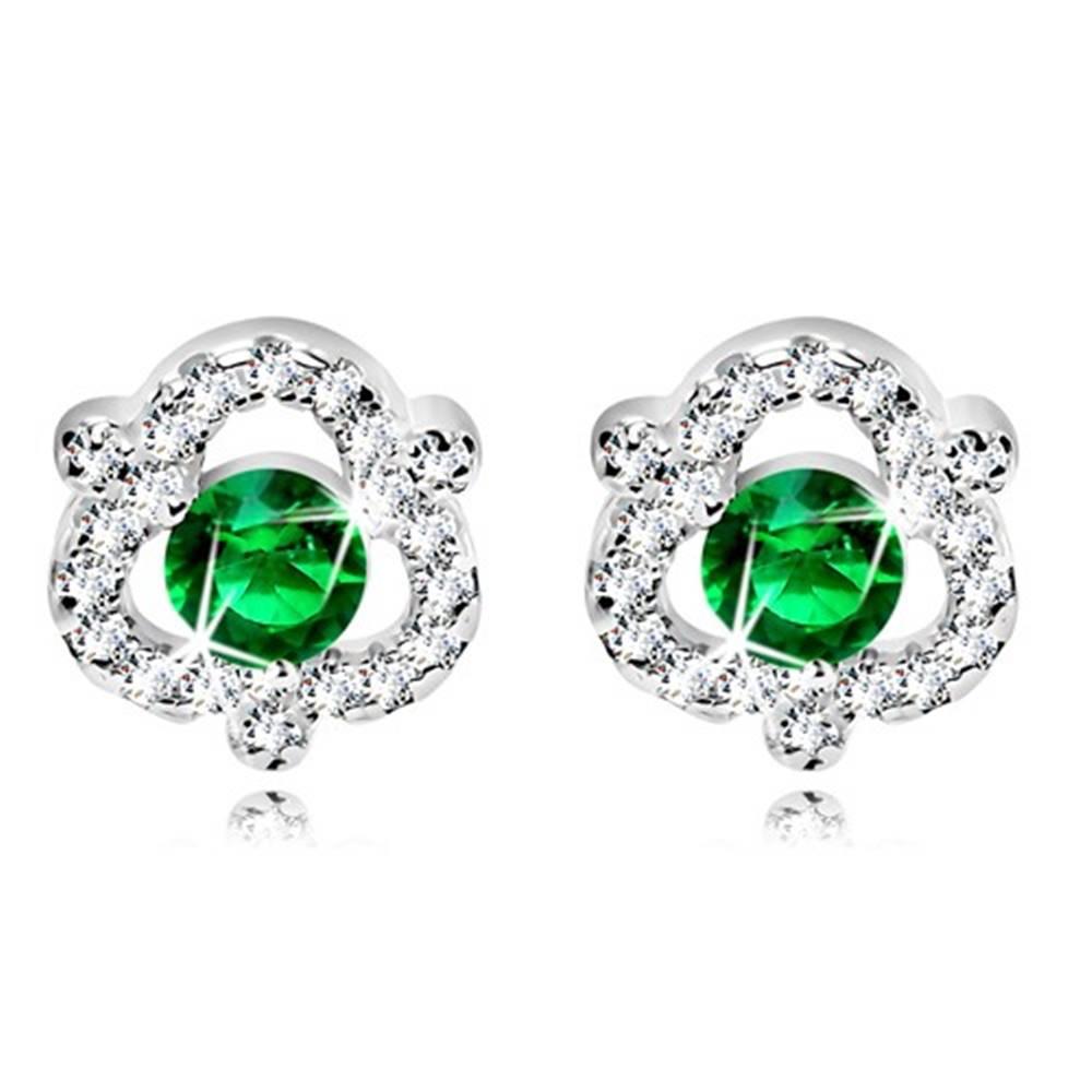 Šperky eshop Ródiované náušnice zo striebra 925 - zelený okrúhly zirkón, číre zirkóny, puzetky