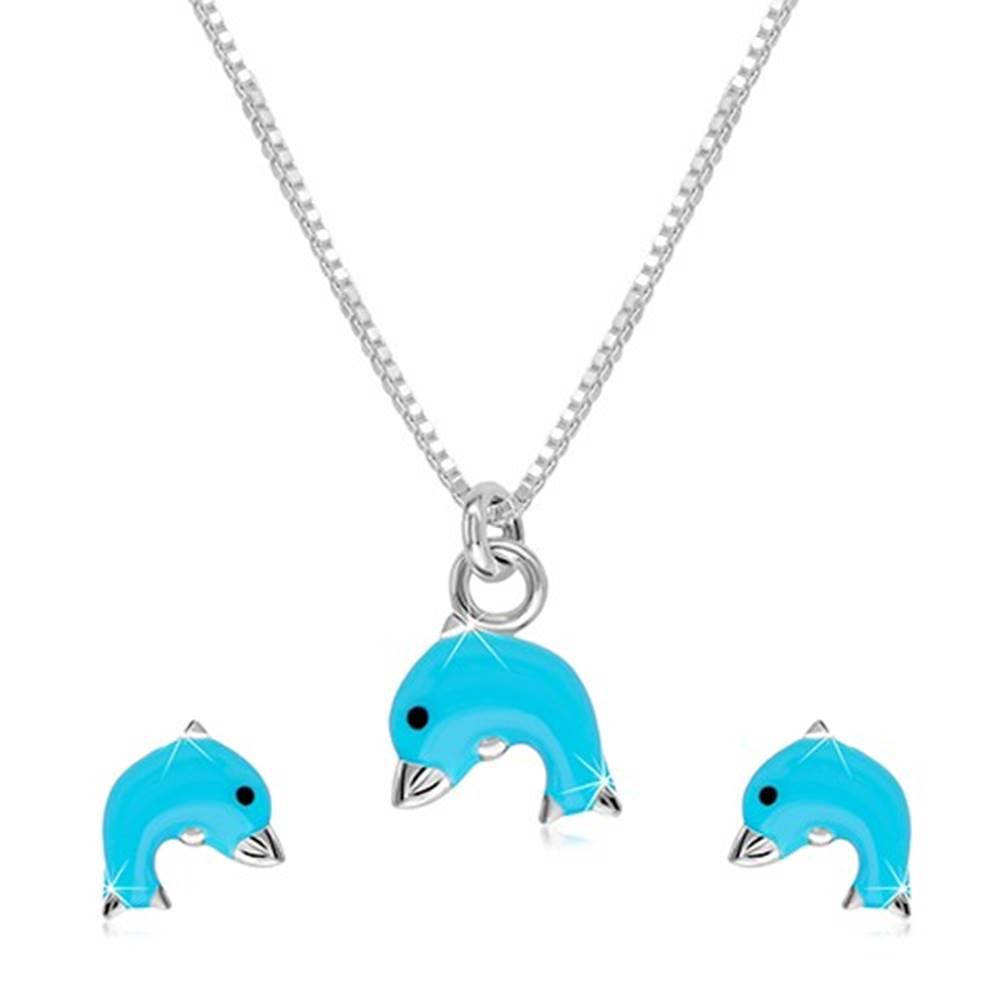 Šperky eshop Strieborný 925 dvojset - náhrdelník a náušnice, delfínik s modrou glazúrou