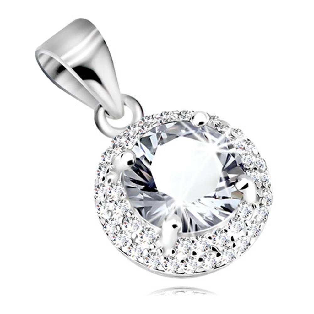 Šperky eshop Strieborný 925 prívesok, okrúhly zirkón čírej farby, trblietavý zirkónový lem