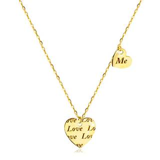 "Náhrdelník zo zlata 585 - dve súmerné srdiečka s nápisom ""Love"" a ""Me"""