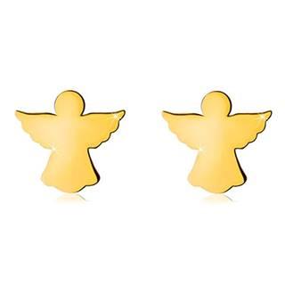 Náušnice v žltom zlate 585 - vyrezávaný obrys anjelika s rozprestretými krídlami, puzetky