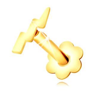 Piercing do nosa v žltom zlate 375 - kontúra blesku a lesklého symetrického kvietku