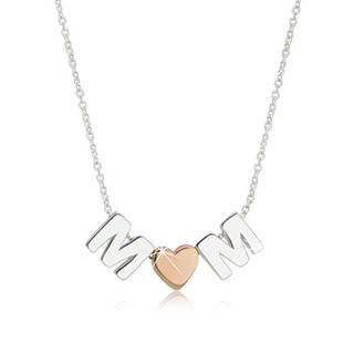 """Ródiovaný strieborný náhrdelník 925 - motív """"MOM"""" tvorený písmenami """"M"""" a srdiečkom"""
