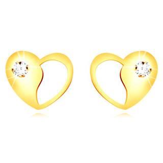 Zlaté 9K náušnice - srdiečko s ozdobným výrezom a okrúhlym čírym zirkónom
