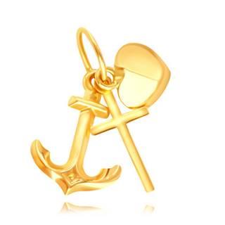 Zlatý 14K prívesok - silueta lesklého krížiku, kotvičky a vypuklého srdiečka