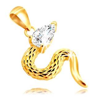 Zlatý 9K prívesok - hadík s kosoštvorcovými zárezmi a zirkónovou hlavičkou