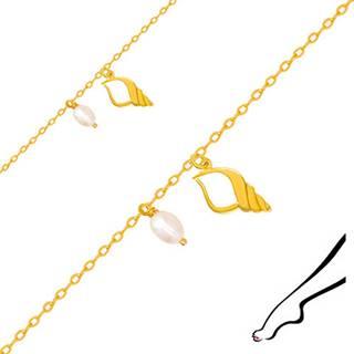 Zlatý náramok na nohu 375 - kontúra mušle s výrezom, dve biele perly