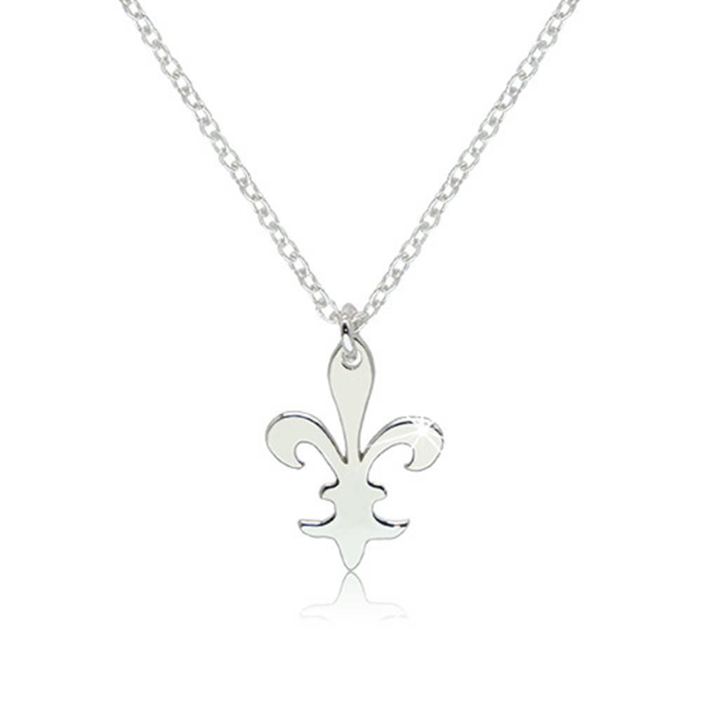 """Šperky eshop Lesklý strieborný náhrdelník 925 - ozdobne vyrezávaný symbol """"Fleur de Lis"""""""