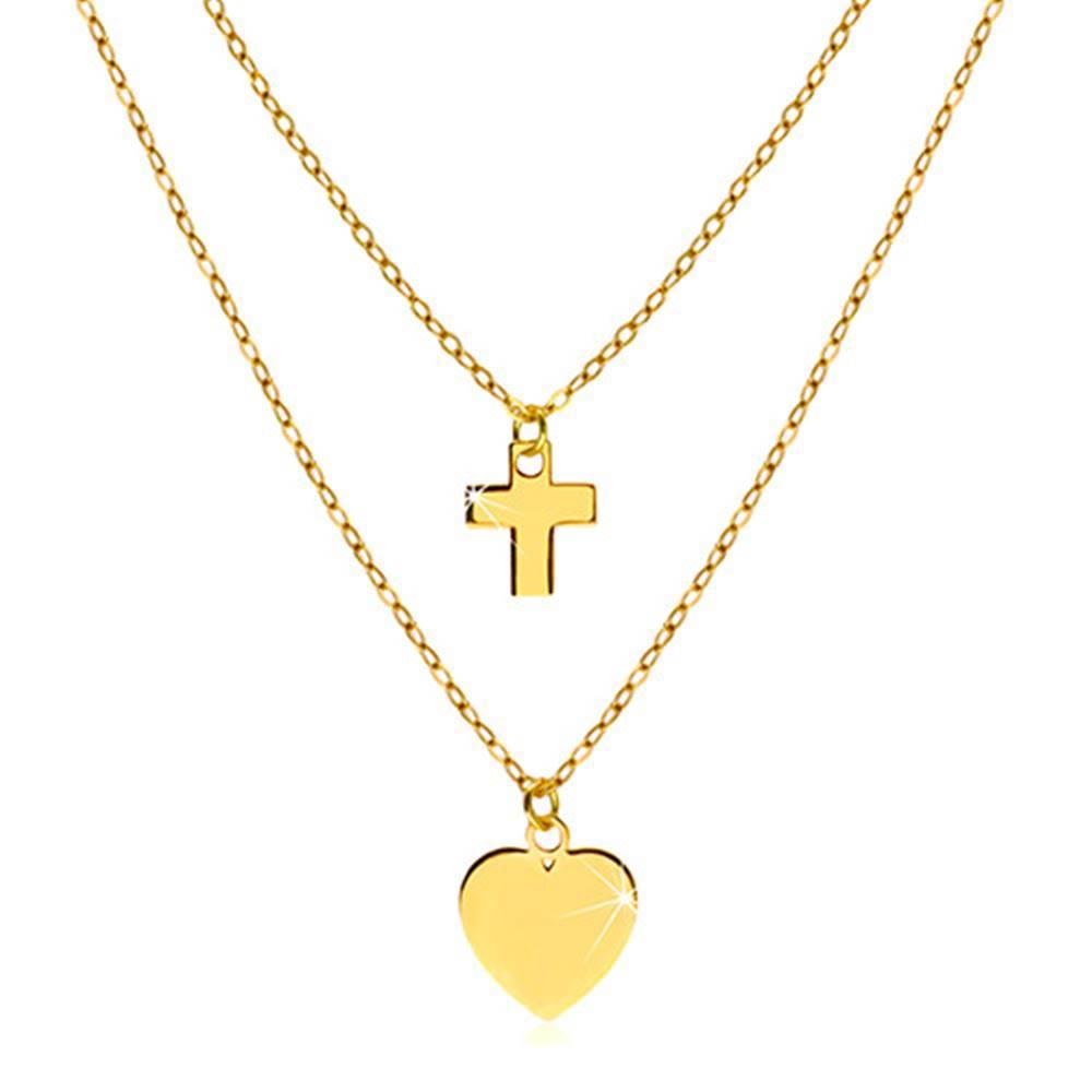 Šperky eshop Náhrdelník v žltom 14K zlate - lesklé symetrické srdiečko a kontúra krížika
