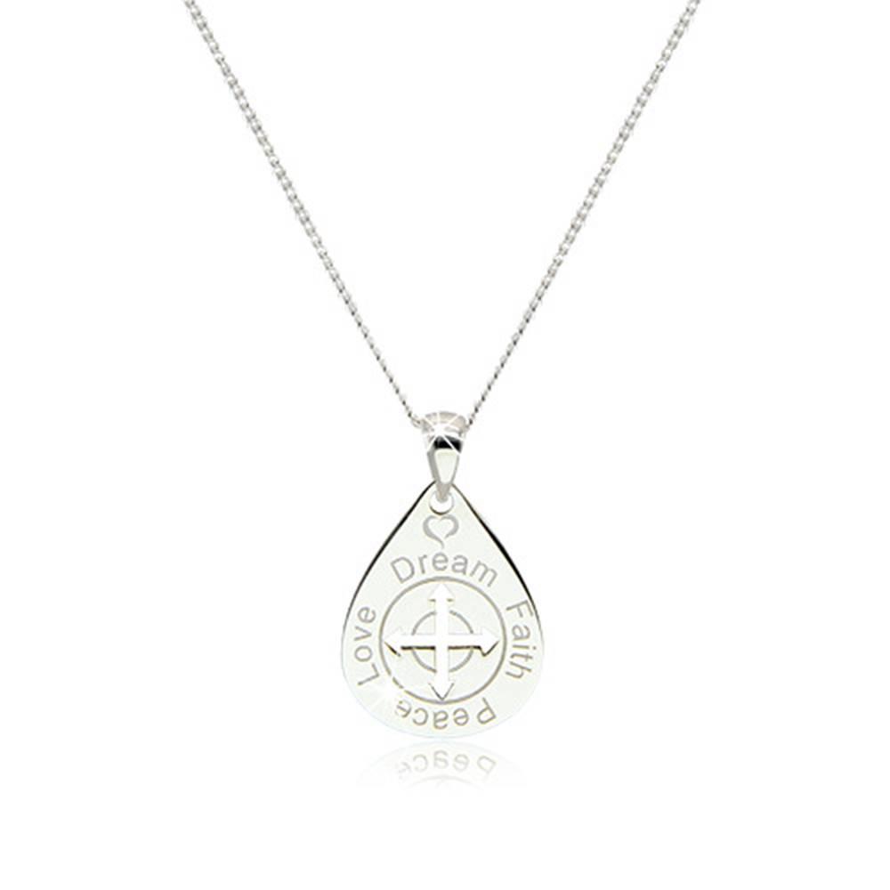 Šperky eshop Náhrdelník zo striebra 925 - kvapka so šípkami uprostred, ozdobné nápisy a srdiečko